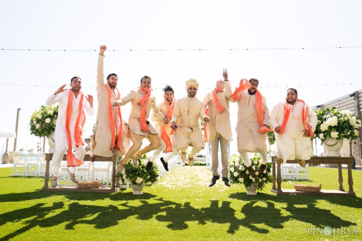 Groomsmen jumping at an Indian wedding at Pasea Hotel & Spa