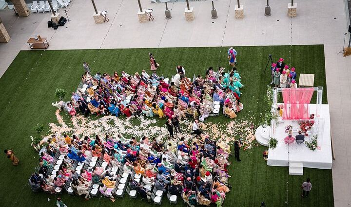 Aerial view of Indian wedding at Pasea Hotel & Spa