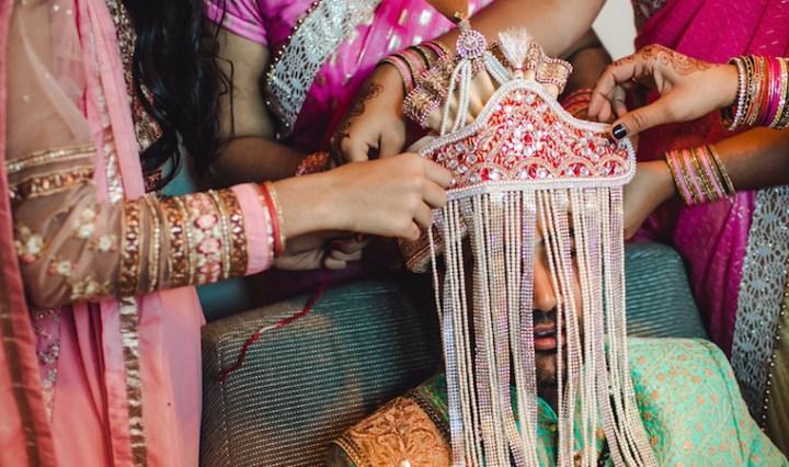 Indian groom's sehra bandi