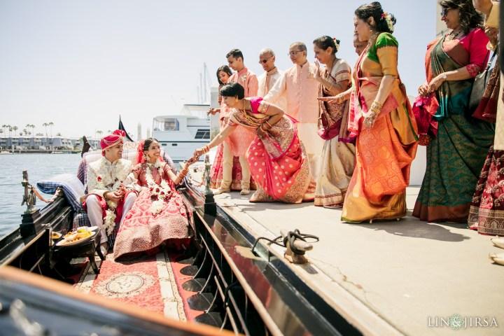 Indian wedding boat gondola vidai after an Indian wedding