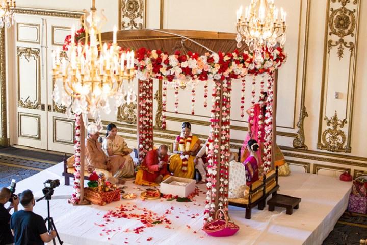 Indian wedding mandap at the Fairmont San Francisco.