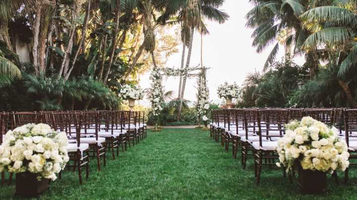 The Mariposa Garden oceanfront ceremony venue at the Four Seasons Biltmore in Santa Barbara.