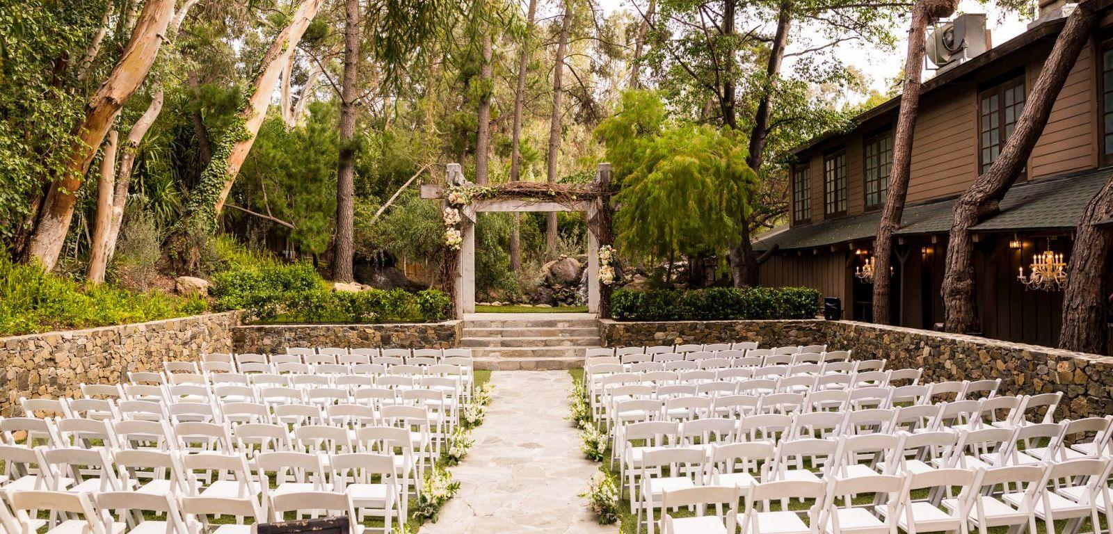 Redwood Room outdoor wedding ceremony venue at Calamigos Ranch