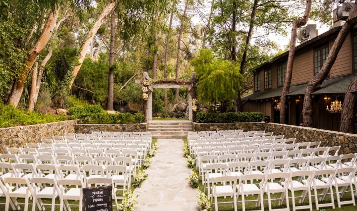 Redwood Room outdoor wedding ceremony venue at Calamigos Ranch