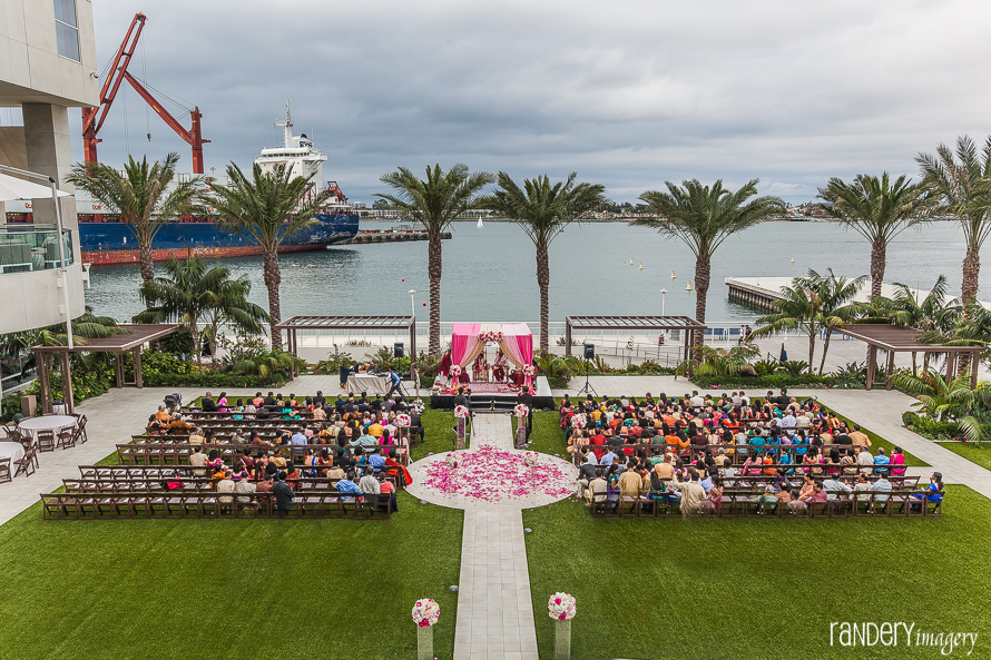 Indian wedding in the Promenade Plaza at Hilton San Diego Bayfront