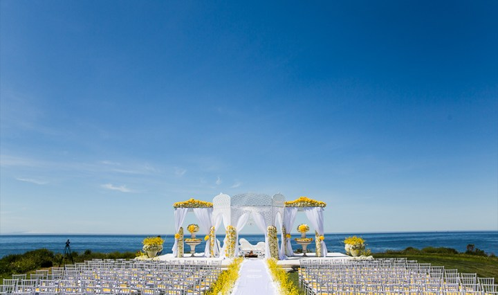Oceanfront Indian wedding Mandap at Sandpiper Golf Club