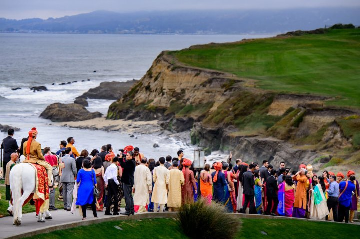 Baraat at an Indian wedding Ritz-Carlton Half Moon Bay