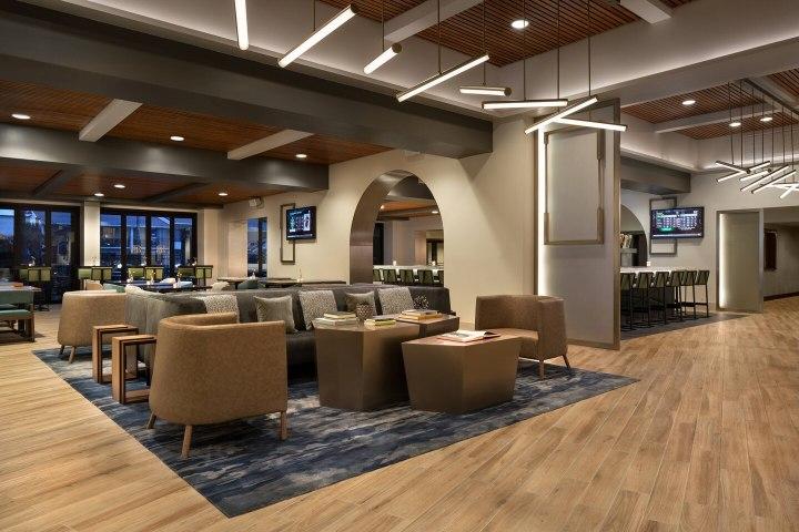 Newly renovated lobby at Santa Clara Marriott