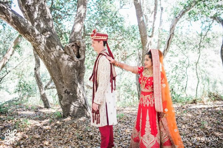 Indian wedding first look at Chaminade Resort & Spa