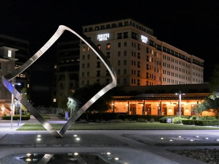Juniper Hotel plaza at night
