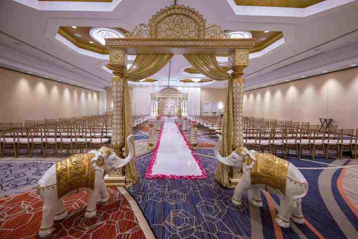Indoor Indian wedding ceremony Boston Marriott Burlington
