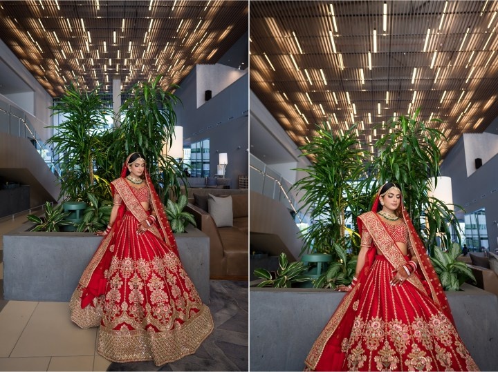 Indian bride posing for a photo in the lobby of the Kimpton Sawyer Hotel