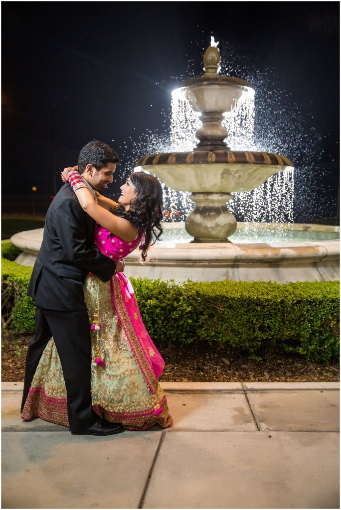 Indian bride and groom romantic photo fountain