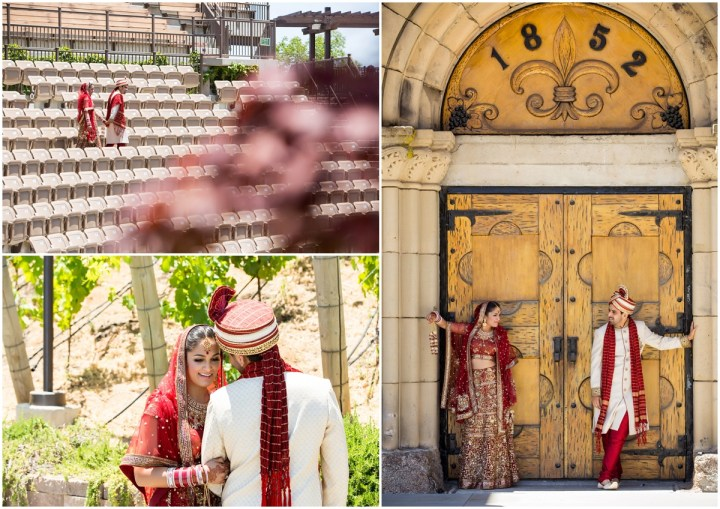 Indian bride and groom romantic photos at The Mountain Winery