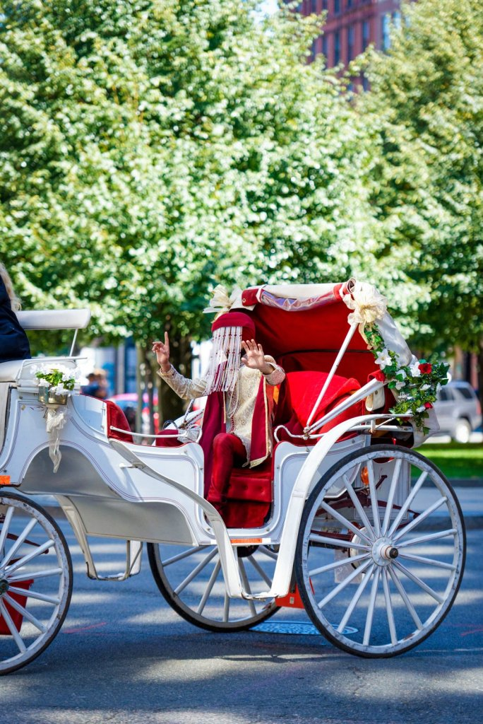 Indian groom in horse and carriage for baraat at Boston Park Plaza