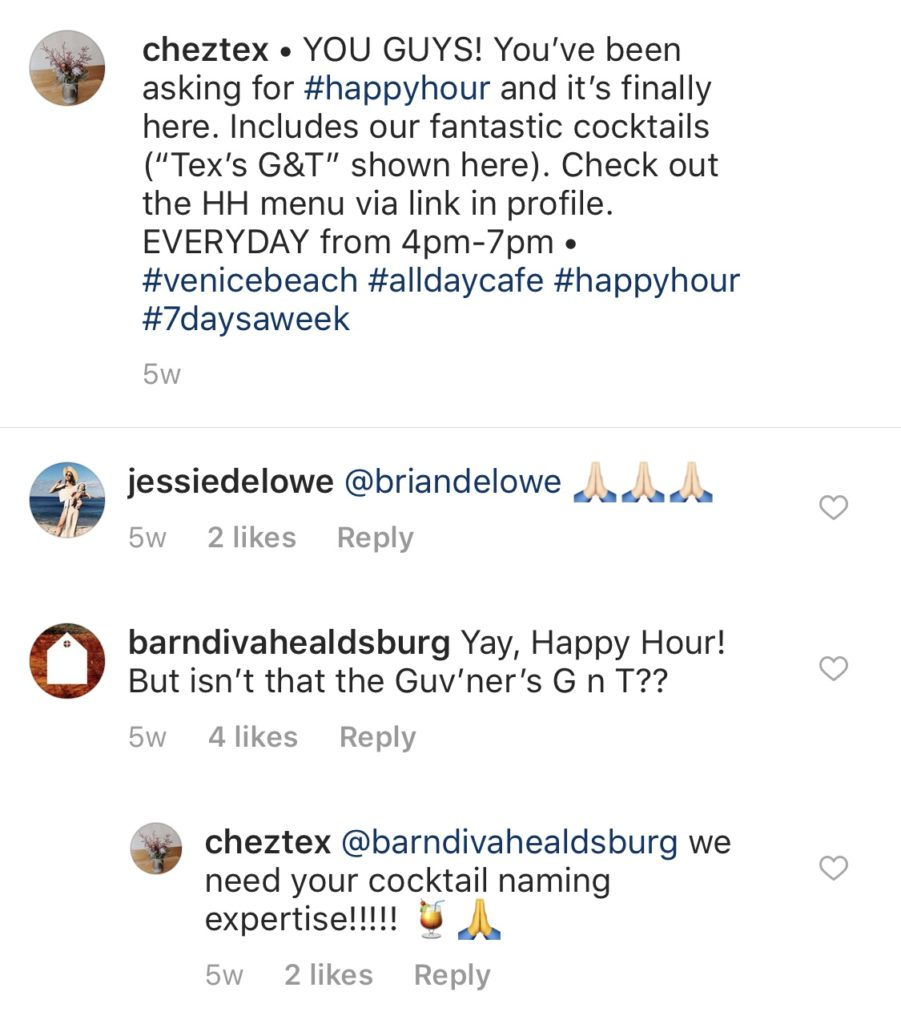 chez text restaurant IG comments