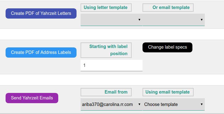 action buttons on Yahrzeit queries