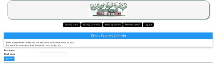 Member portal search