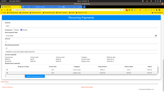 Recurring payments waterfall