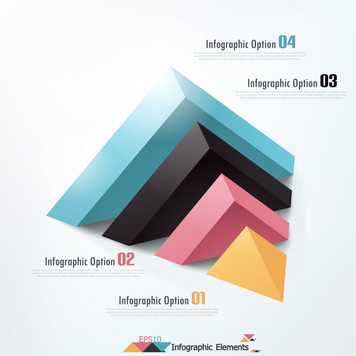 Modern infographics options banner with cropped pyramid. Vector. Can be used for web design and  workflow layout