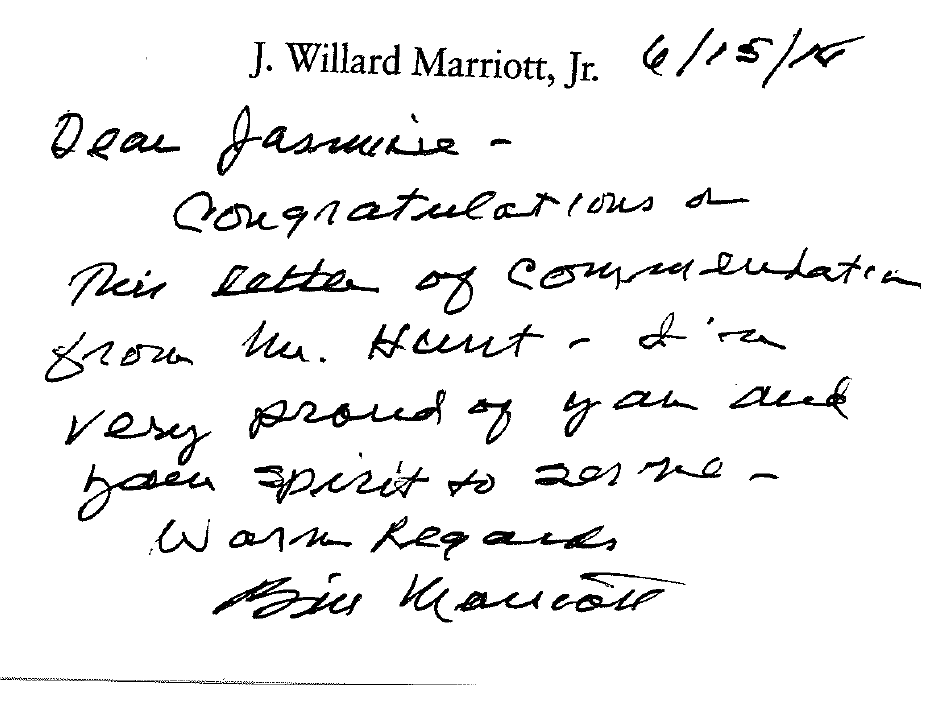 Front Desk Agent receives a personal letter from Mr. J