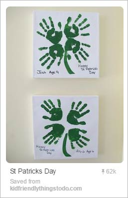 St. Patrick's Day shamrock handprint craft