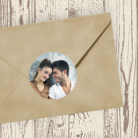 circular photo sticker as envelope seal