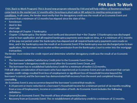 FHA Back to Work Program