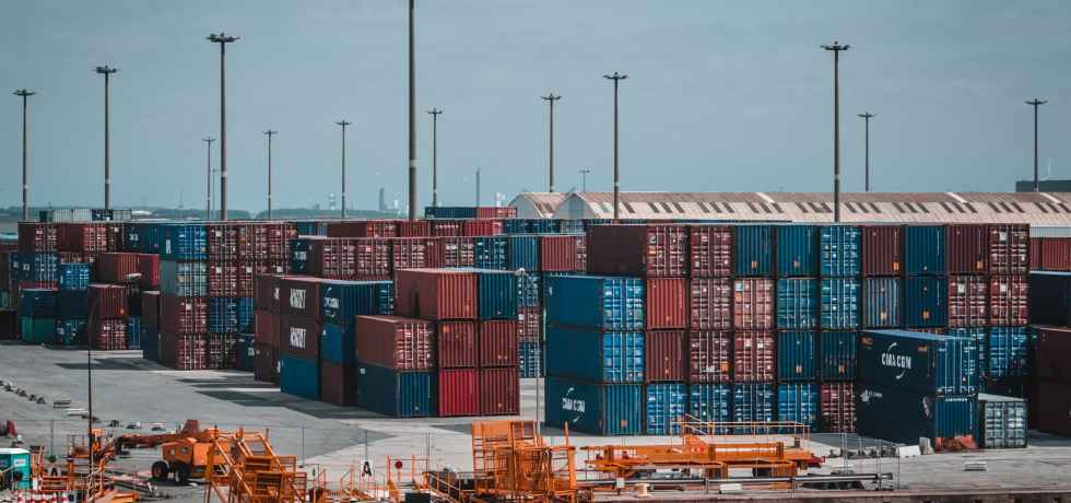 intermodal container stacked on port