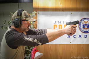 The shooting CEO, James Debney of Smith & Wesson was just one of the guys out on the range competing. Photo by P. Erhardt