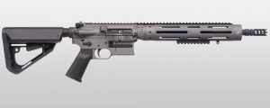 The JP GMR-13 9mm rifle.  An option when standard rifle caliber weapon will not work.  The one I have uses Glock 9mm magazines and runs flawlessly.