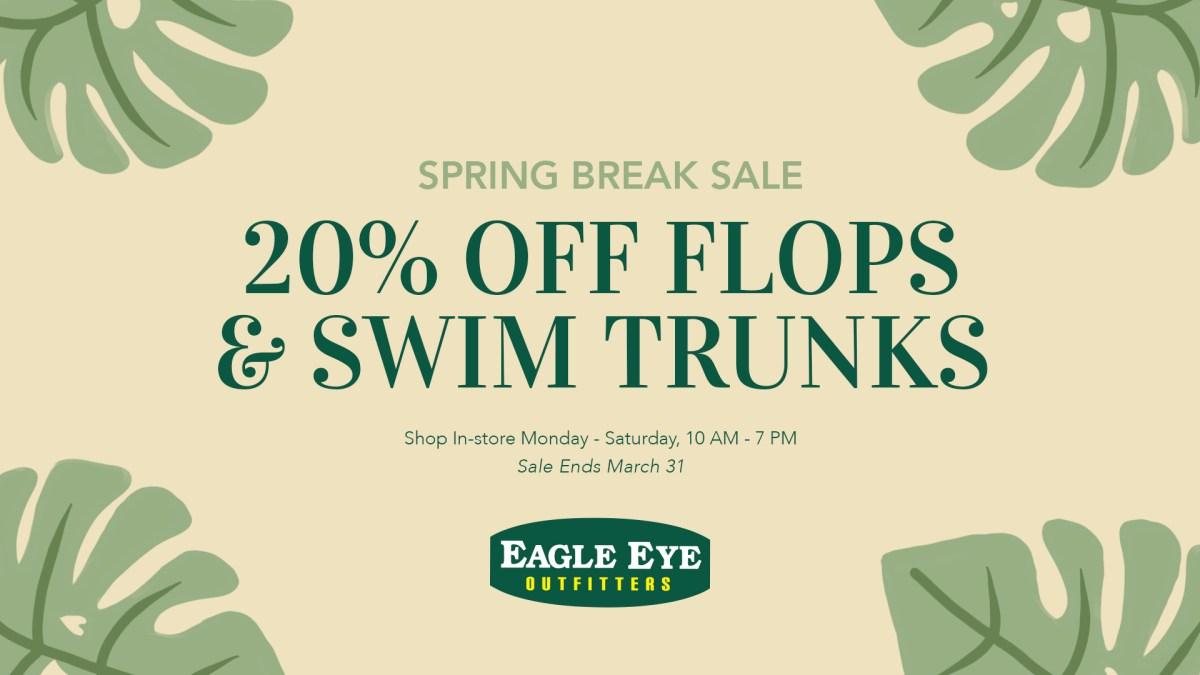 20% off flips flops and swim trunks