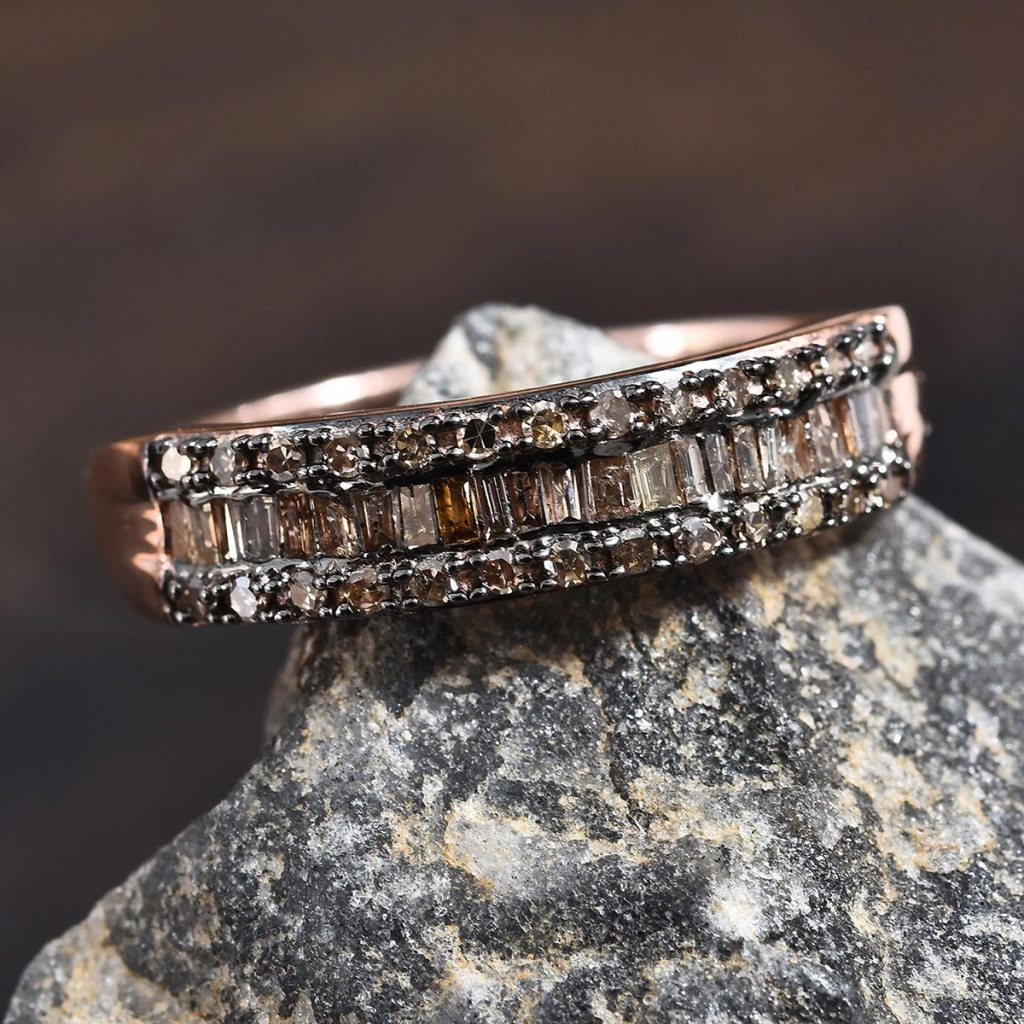Champagne Diamond Ring in Black Rhodium and Vermeil Rose Gold Over Sterling Silver