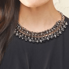 Short necklace paired with crew top.