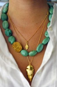 Selection of layered necklaces.