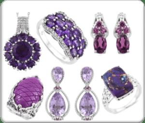 Purple gemstone jewelry.