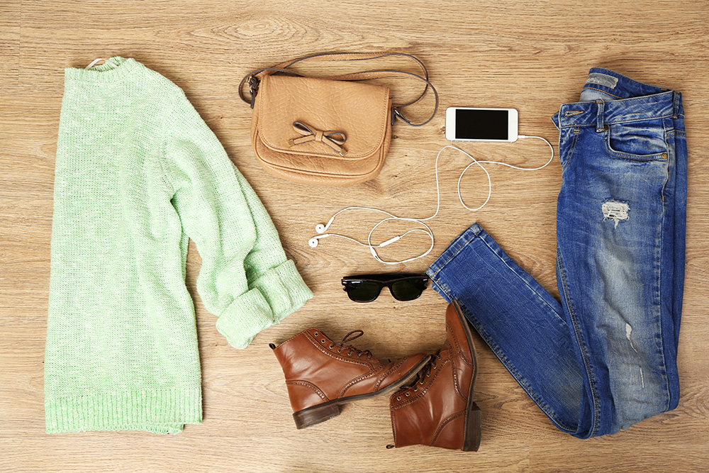 Mint green shirt and jacket outfit