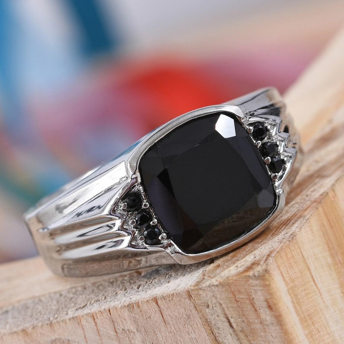Thai Black Spinel Men's Ring