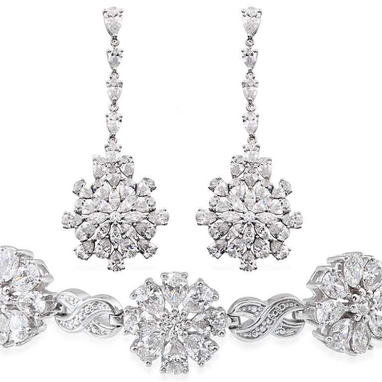 Swarovski zirconia earrings and bracelet set.