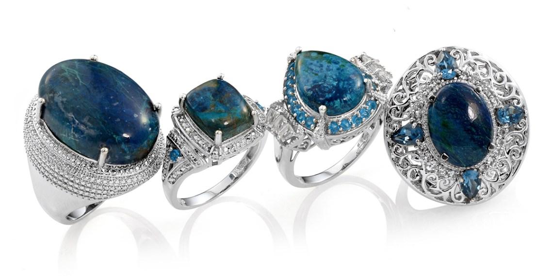 Shadowkite gemstones in sterling silver rings.