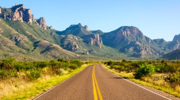 The Big Bend road in daylight, Texas.