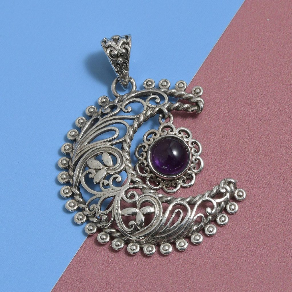 Artisan Crafted Amethyst Sun and Moon Pendant in Sterling Silver