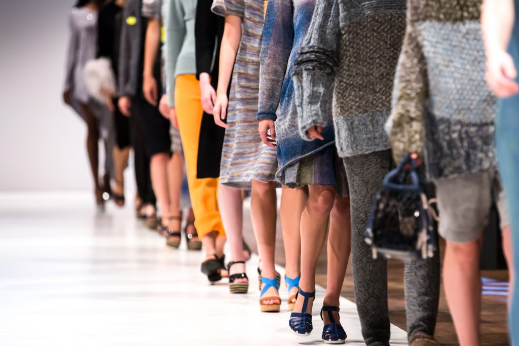 Models walking down the catwalk