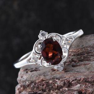 Mozambique Garnet Sterling Silver Ring.