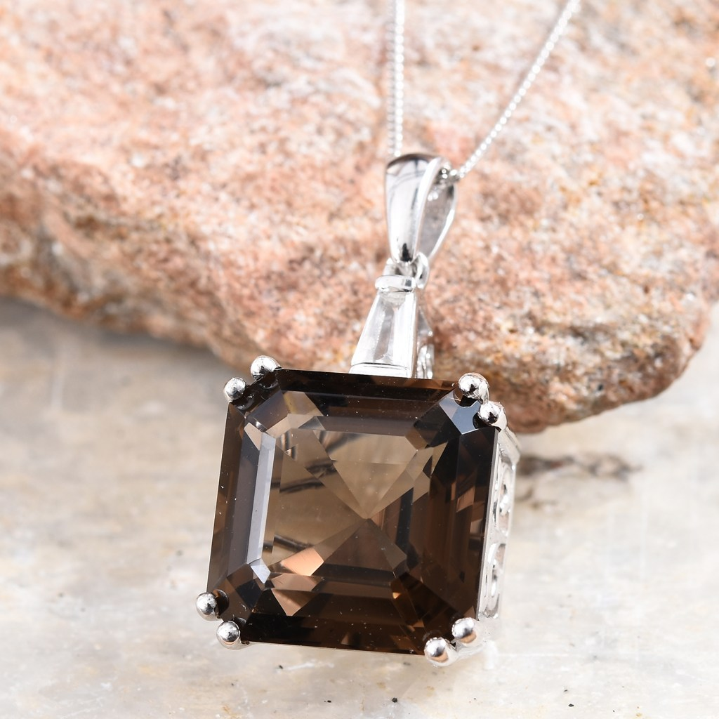 Large Asscher cut smoky quartz pendant.