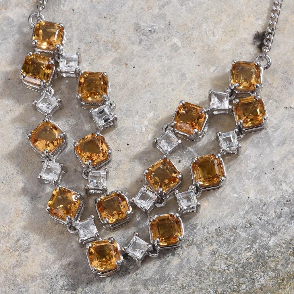 Citrine statement necklace featuring Asscher cut gems.