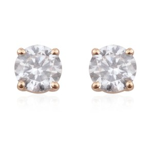 Round diamond earrings in 14k yellow gold.