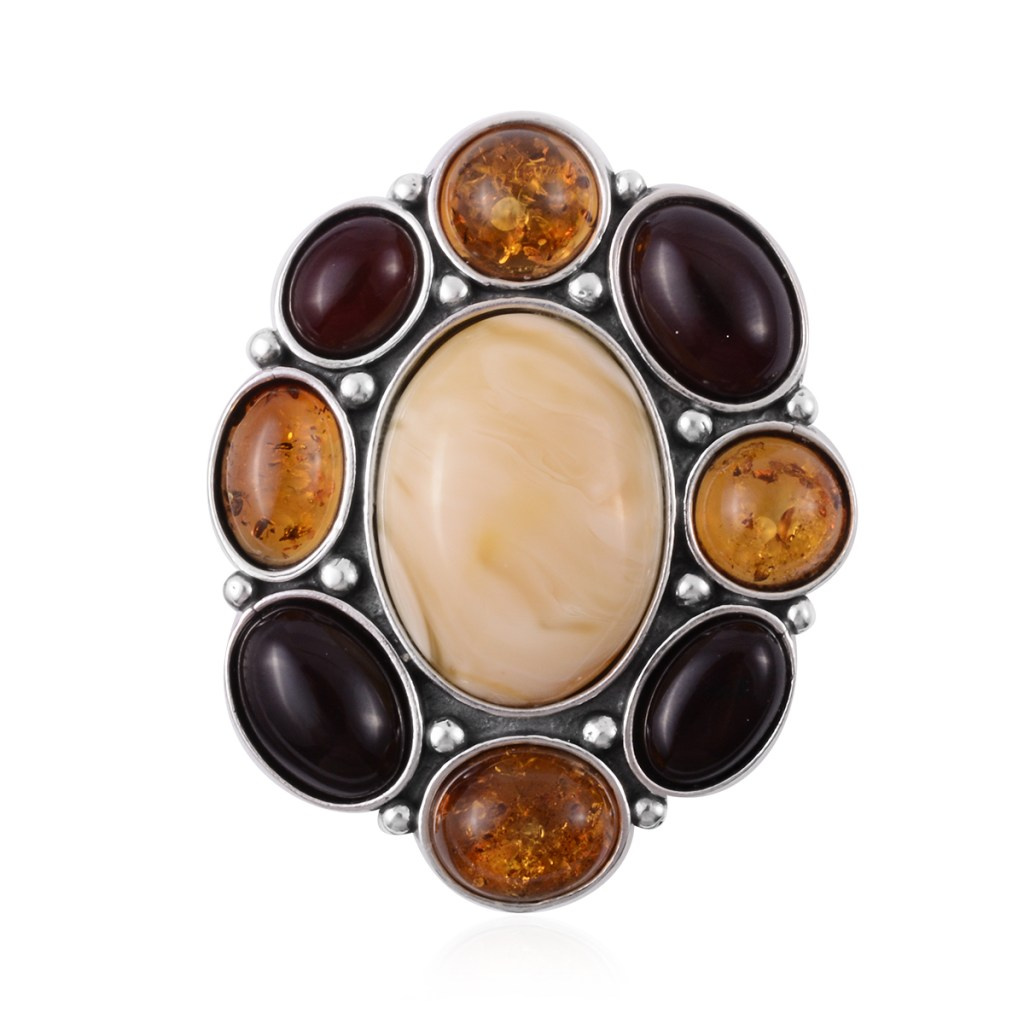 Amber cluster brooch
