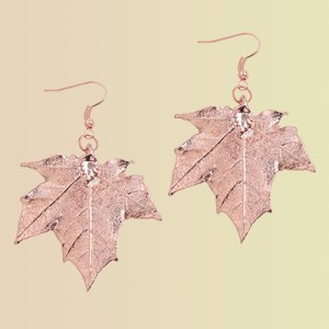 Dipped metal leaf earrings.
