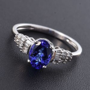 AAA tanzanite and diamond ring in 14K white gold.